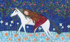 Horse Painting, Whimsical Fantasy Folk Art, Horse Theme Children Decor and Nursery Art