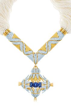 Tiffany & Co. Schlumberger® Sheaves necklace in platinum and 18k gold with emerald-cut sapphires and white and yellow diamonds. Detachable pendant on a platinum and 18k gold necklace of cultured pearls.