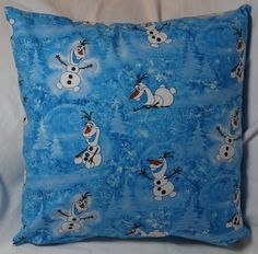 New Frozen Fabric! The third in the Frozen series. 14 inch pillow made of 100% cotton with a zipper on the bottom for easy washing.