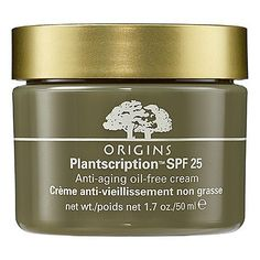 Origins Plantscription™ SPF 25 Anti-Aging Oil-Free Cream 1.7 oz by Origins. $55.00. What it is:An oil-free facial cream to improve skintone and hydrate.What it is formulated to do:This Anti-Aging Oil-Free Cream helps improve skin firmness, boosts moisture levels, and helps safeguard skin from aging UV damage. Best for combination to oily skin, it leaves skin looking younger and refreshed.What it is formulated WITHOUT:- Parabens- Sulfates - PhthalatesResearch results:- 83% ...