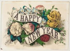 <p>A Happy New Year on two banners strung across arrangement of flowers including lilies, roses, peonies and ivy.</p>