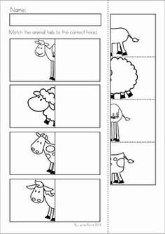 Christmas Nativity Preschool Math and Literacy No Prep worksheets and activities. A page from the unit: match the tails to the heads cut and paste prep worksheets Preschool Learning Activities, Preschool Activities, Kids Learning, Spanish Activities, Farm Animals Preschool, Cutting Activities, Vocabulary Activities, Kindergarten Prep, Kindergarten Worksheets