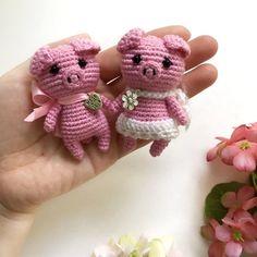 Tiny Piggy Knitted Little Pig Crochet Pink Piggy Miniature doll Small animal creature Stuffed Animal Crochet Doll Pattern, Crochet Bear, Crochet Toys Patterns, Crochet Gifts, Stuffed Toys Patterns, Crochet Animals, Crochet Dolls, Doll Patterns, Free Crochet