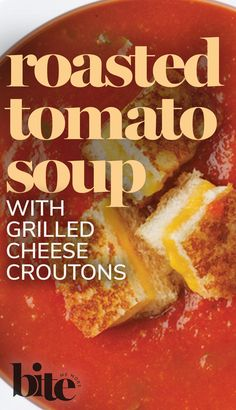 If Andy Warhol had tasted our deeply flavored roasted tomato soup, we're confident he would have chosen it over the bland canned variety. We can picture the canvas...bowl after bowl of velvety, steaming tomato puree topped with crispy mini grilled-cheese croutons...a comfort-food masterpiece that'll be remembered long past 15 minutes. #FallRecipes #cozyrecipes #comfortfood #easyrecipes