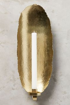 Hammered Gold Sconce by Anthropologie in Gold, Candles Modern Candles, Gold Candles, Luxury Candles, Sconces Living Room, Candle Wall Sconces, Mirror Candle, Brass Sconce, Hammered Gold, Gold Walls