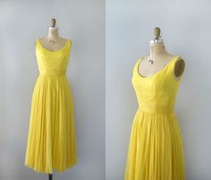 Vintage 1960s Formal Dress   Yellow Sunshine Silk by Sweetbeefinds, $158.00