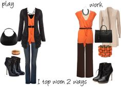 """orange top"" by tanyaf1 ❤ liked on Polyvore"