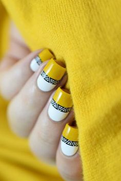 Nail art is a very popular trend these days and every woman you meet seems to have beautiful nails. It used to be that women would just go get a manicure or pedicure to get their nails trimmed and shaped with just a few coats of plain nail polish. Aztec Nail Art, Aztec Nails, Chevron Nails, Bright Nail Art, Yellow Nail Art, Yellow Nails Design, Nail Art Videos, Trendy Nail Art, Fall Nail Art