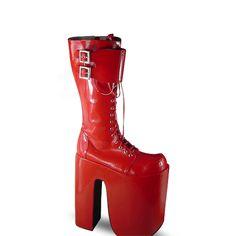 ◢an*tai*na*◣ LOLITA COS PUNK特殊跟长靴超高表演坡跟松糕7008-淘宝网
