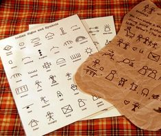 "Pilgrim and Native American activity: Write with Indian symbols/pictographs and celebrate diversity. Draw on brown paper ""pelts"". A 72 character guide is available to download and print from Etsy"