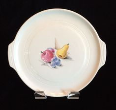 Vintage Knowles Utility Ware Handled Serving Plate Fruits Pattern Chip