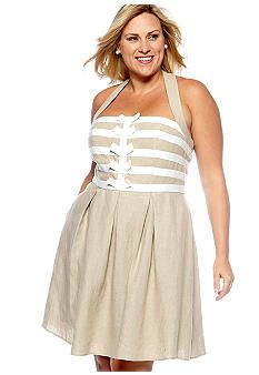 Jessica Simpson Plus Size Linen Halter Sundress