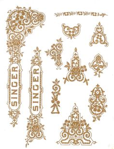 """Sewing Machine Decals for Singer 27 127 Class """" Tiffany Style """" Restoration - Waterslide Transfer - Gold Metallic - Treadle Sewing Machines, Antique Sewing Machines, Retro, Sewing Machine Repair, Sewing Machine Accessories, Sewing Rooms, Gold Ink, Plymouth, Sewing Hacks"""