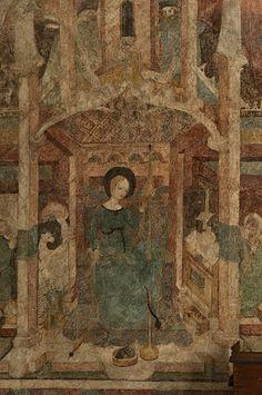 """Urbanskirche in Schwäbisch Hall, Baden-Württemberg. Late 14th/early 15th century. """"Die großformatige Wandmalerei wurde vermutlich Ende des 14. Jahrhunderts geschaffen"""""""