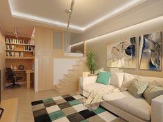 lambris bois, revêtement de sol assorti, escalier droit sans main courante et cadre décoratif