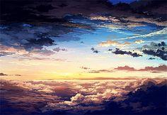 art anime edits beautiful sky manga pixiv clouds scenery color