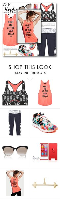 """Meet Me At The Bar Bells"" by katrinaalice ❤ liked on Polyvore featuring Victoria's Secret, adidas, Christian Dior, Rembrandt Charms, fitness, sporty and gymessentials"