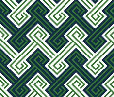 Athena Greek Key in Preppy Navy and Green wallpaper by sparrowsong on Spoonflower - custom fabric