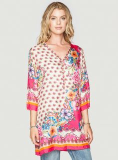 Johnny Was Printed Silk Ross Tunic #resortstyle #tropical