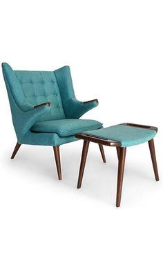 Kardiel Wegner Papa Bear Wing Chair U0026 Ottoman, Dutch Blue Twill, Walnut  Legs Best