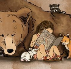 """""""forrest friends"""", illustration by annesley williams of a little girl reading mother goose, surrounded by a bear, a raccoon, a fox, & a rabbit"""