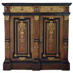 1stdibs | Couple French Napoléon III faux bois and giltwood cabinets