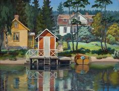 Matti Taskinen - - Houses on the Shore. Oil on canvas. Nordic Art, Scandinavian Art, Landscape Paintings, Landscapes, Art Auction, Helsinki, Oil On Canvas, Beautiful Homes, Contemporary Art