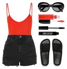 """""""Fuego"""" by baludna ❤ liked on Polyvore featuring MAC Cosmetics, Bower, Topshop, Acne Studios, Melissa and Lord & Berry"""