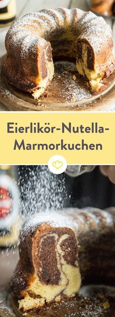 Juicy marble cake with eggnog and Nutella- Saftiger Marmorkuchen mit Eierlikör und Nutella Marble cake is good. Marble cake with eggnog and Nutella is better. Wonderfully chocolatey and so creamy, after a piece you are drunk with love. Baking Recipes, Cake Recipes, Snack Recipes, Dessert Recipes, Brownie Recipes, Easy Smoothie Recipes, Marble Cake, Food Cakes, Ice Cream Recipes