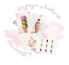 Yummy Ice Cream Postcards - Free Shipping Worldwide!  * FREE SHIPPING!  I sell these on Etsy: https://www.etsy.com/listing/195248059/yummy-ice-cream-postcards?ref=pr_shop  4 Ice Cream Postcards: Sizes: 11cmx15cm Material: High Quality - Extra Smooth (Hot Pressed) Grain Satine, 140 lb, 300g/m  You can request a custom order and I will make your ideas happen.  Send me a message on Etsy to talk about the details.  These are original watercolour paintings made by my heart...