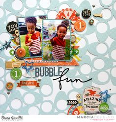 Bubble Fun - Scrapbook boy layout for Cocoa Vanilla Studios using some Life Is Beautiful, Totally Rad, and Made Of Awesome collections. The background cut file is from JustNick Studios and is called Retro 50's. Summer Fun!