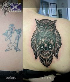 Owl sugar skull cover up tattoo Extreme tattoo