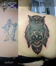 Owl sugar skull cover up tattoo Extreme tattoo