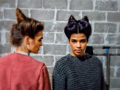 xoVain | Messy Devil Horn Buns: The William Okpo Fall 2014 Runway Hair Look