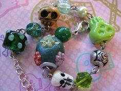 Green Skull Bracelet by jansbeads on Etsy, $14.50