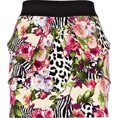 beige rose and animal print mini skirt - mini skirts - skirts - women - River Island