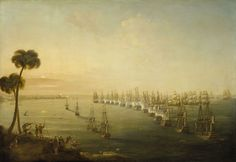 The Battle of the Nile, 1 August 1798.  During the French Revolutionary War, 1793-1802. On 19 May 1798, Napoleon sailed from Toulon on his hazardous adventure to Egypt, capturing Malta en route. Rear-Admiral Sir Horatio Nelson initially looked for them at Alexandria, and finding no French there, sailed back to Syracuse in Sicily to reposition before returning to Alexandria. There, on 1 August, he received a signal that the French fleet had been sighted 15 miles east of Alexandria.