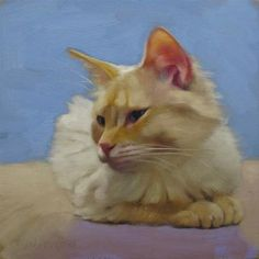 "Daily Paintworks - ""Serena painting of peaceful blue eyed white cat"" - Original Fine Art for Sale - © Diane Hoeptner"