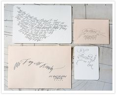 pink and white invitations with beautiful calligraphy