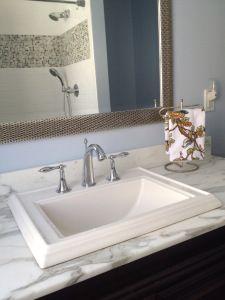 subway tile, Carrera marble, blue bathroom remodel