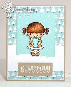 Your Next Stamp - Hot Cocoa Phoebe stamp set, Snowfall stamp set, Stitched Rectangle die set
