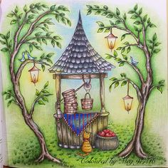 The old well from Romantic Country tale 1 by Eriy, used Primacolor. #eriy #arte_e_colorir #prismacolor #colouringbook #adultcoloringbook #romanticcountrycoloringbook #romanticcountry美しい城が佇む国cocotのファンタジー塗り絵ブック