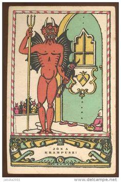 KRAMPUS DEVIL OLD POSTCARD #188