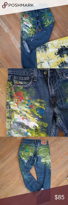 Hand painted classic Levis Original hand painted Levis jeans. Fun funky cool conversation piece...wear it well. Awesome fit..great with classy silk blouse.30x30 Levi's Jeans Straight Leg