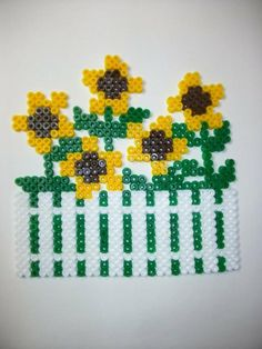 Sunflowers hama beads by Nath Hour Motifs Perler, Perler Patterns, Hama 3d, Pixel Beads, Melted Beads, 3d Tree, Perler Beads, Cross Stitching, Beading Patterns