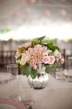 dahlia and rose pink centerpiece