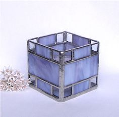 Stained Glass Candle Holder -  Purple and Clear Glass - Votive or Tea Candle