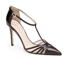 "SJP by Sarah Jessica Parker 'Carrie' T-Strap Pump, 3 1/2"" heel ($355) ❤ liked on Polyvore featuring shoes, pumps, heels, sandals, high heel shoes, t bar shoes, adjustable heel shoes, sjp and strappy shoes"