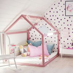 Kids Room: Pink Shaped House Beds With Polkadot Wallpaper - 20 Cozy House Beds Frame For Your Kids' Rooms House Beds For Kids, Kid Beds, Creative Kids Rooms, Dressing Room Design, Attic Renovation, Attic Remodel, Stylish Bedroom, Little Girl Rooms, Cabana