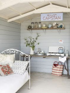 Shabby chic shed interiors she shed interior design дом, Beach Hut Interior, Shed Interior, Interior Design, Shabby Chic Interiors, Shabby Chic Homes, Beach Hut Decor, Beach Hut Shed, Granny Pods, Interiores Shabby Chic